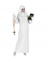 Déguisement religieuse fantôme blanc (tunique, couvre-chef, gants)