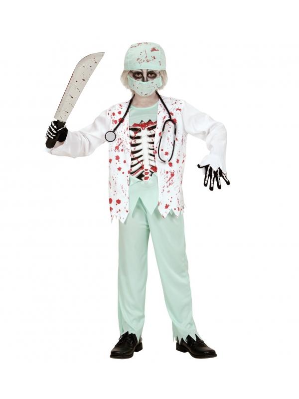 Déguisement docteur zombie garçon (veste ensanglantée, t-shirt avec thorax, pantalon, coiffe, masque de visage, stethoscope)