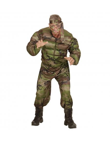 Déguisement Super Soldat Homme (shirt muscle, pantalon, tour de tête)